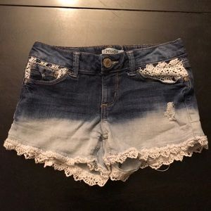 Mudd girls jean shorts with lace size 8 like new